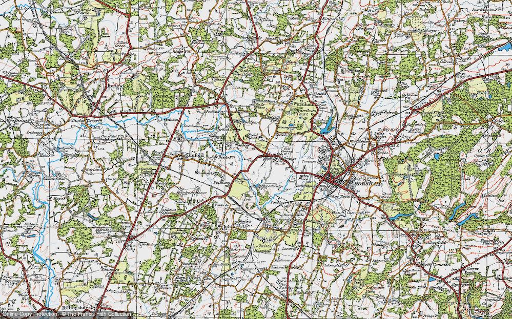 Old Map of Broadbridge Heath, 1920 in 1920