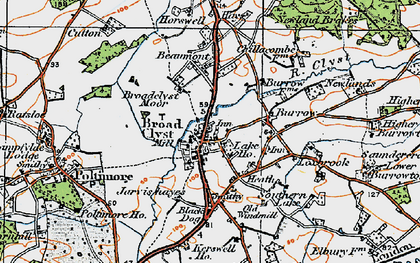 Old map of Broadclyst in 1919