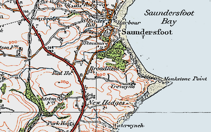 Old map of Monkstone Point in 1922