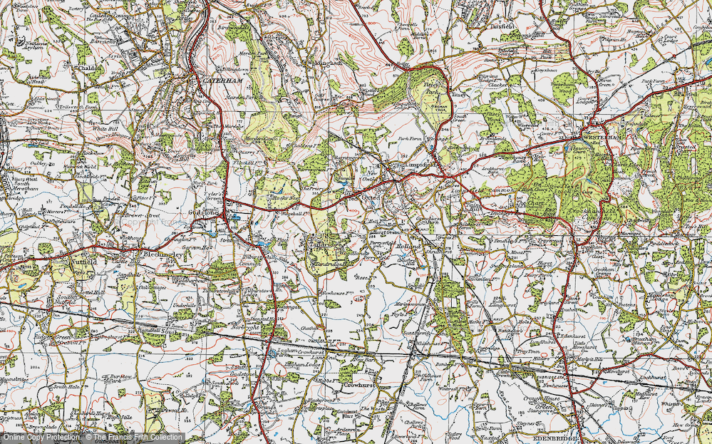 Old Map of Broadham Green, 1920 in 1920