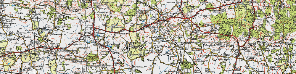 Old map of Broadham Green in 1920