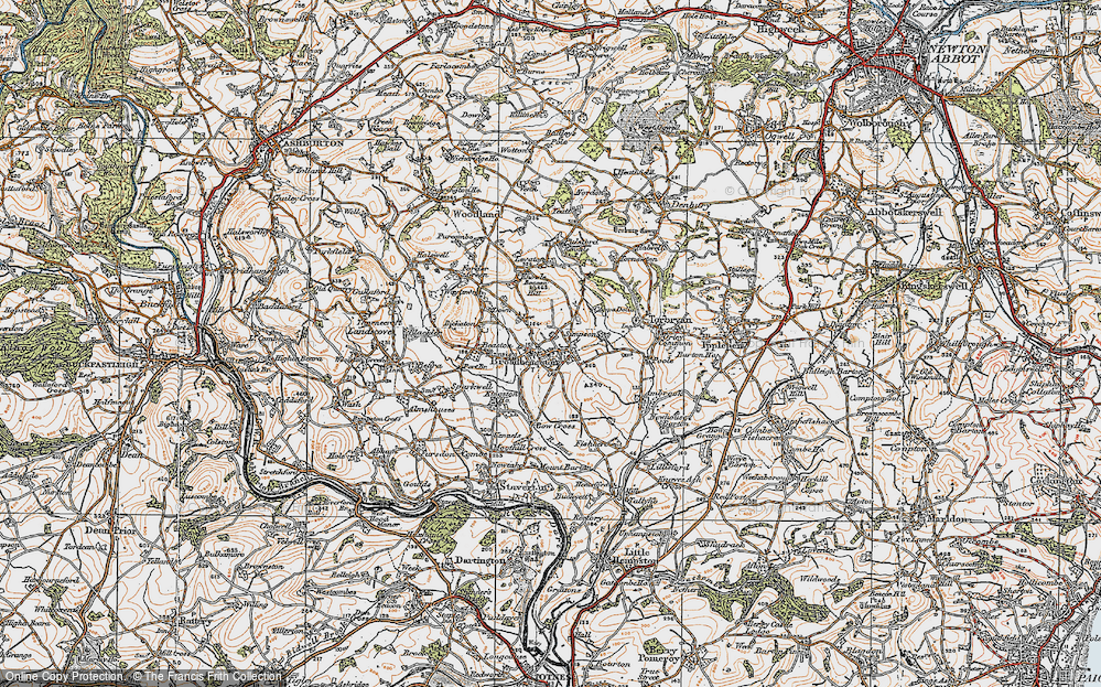 Old Map of Historic Map covering Lee in 1919