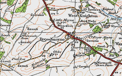 Old map of Whitcombe Barn in 1919