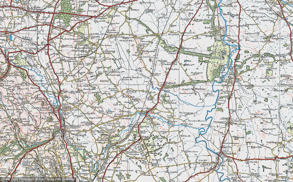 Old Map of Historic Map covering Ball's Hall in 1924