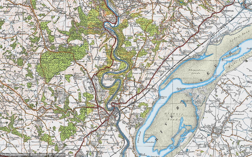Old Map of Historic Map covering Ashberry Ho in 1919