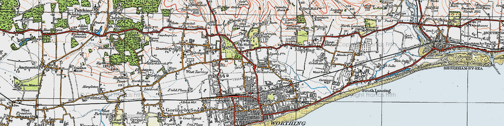 Old map of Broadwater in 1920