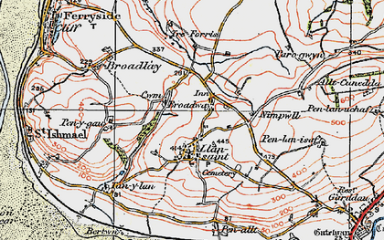 Old map of Broadway in 1923