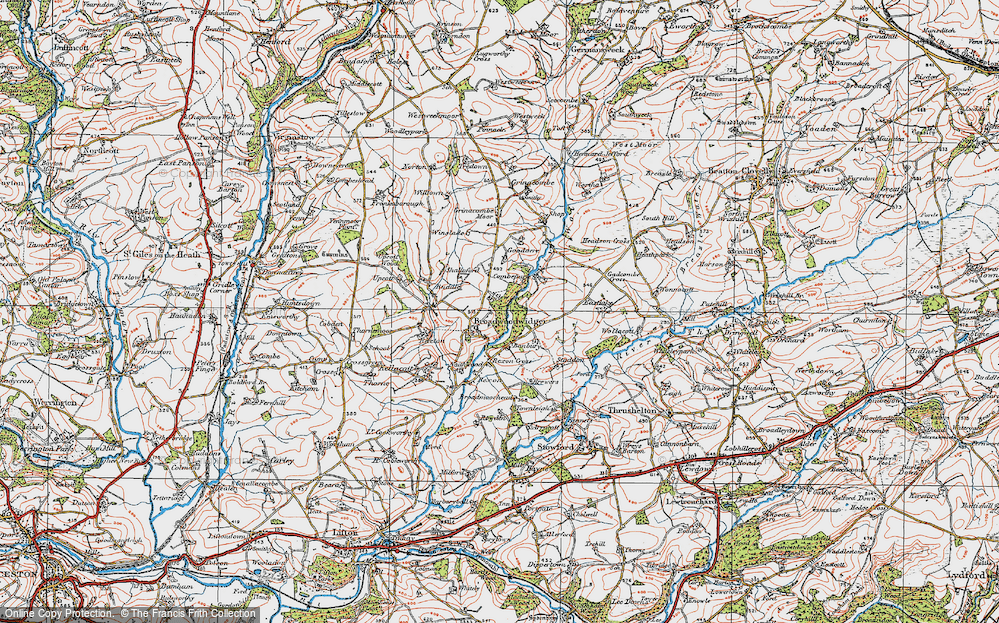 Old Map of Broadwoodwidger, 1919 in 1919