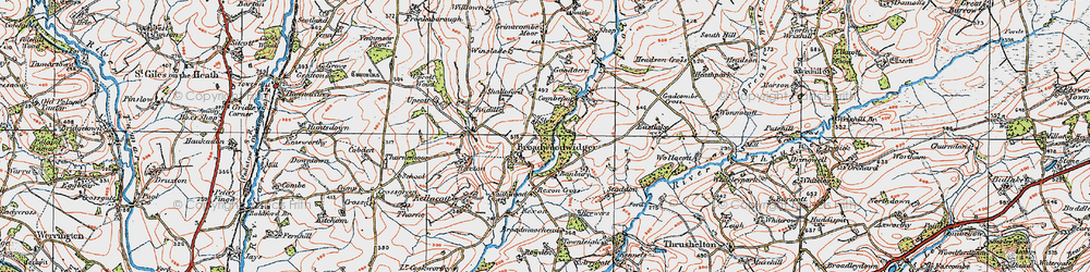 Old map of Broadwoodwidger in 1919