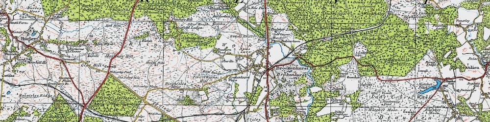 Old map of Brockenhurst in 1919