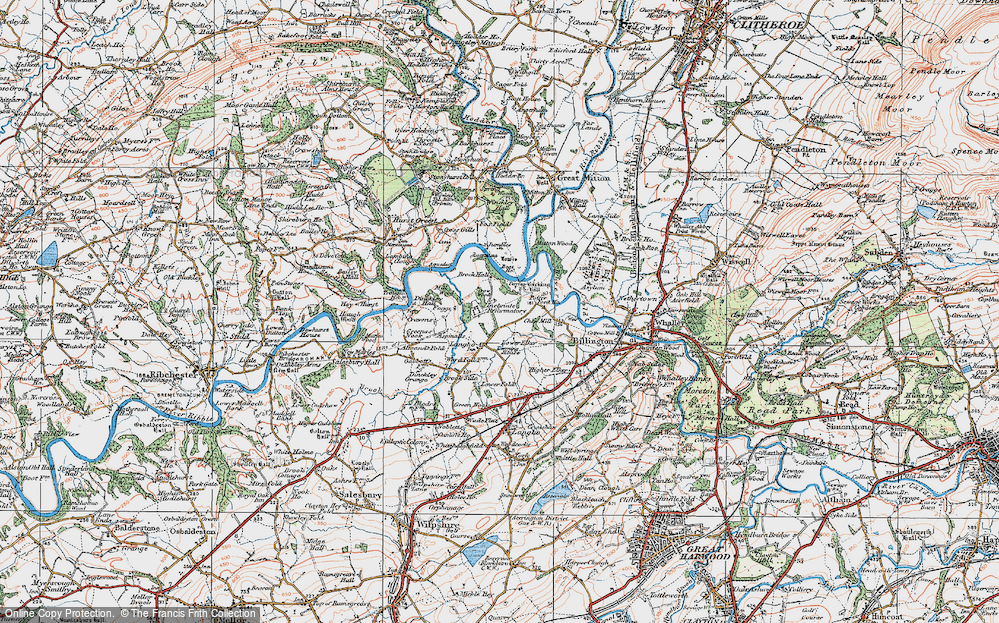 Old Map of Historic Map covering Aspinalls in 1924