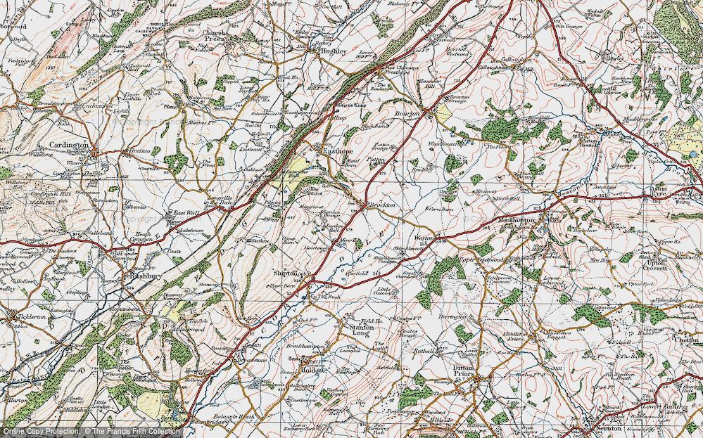 Old Map of Historic Map covering Larden Grange in 1921