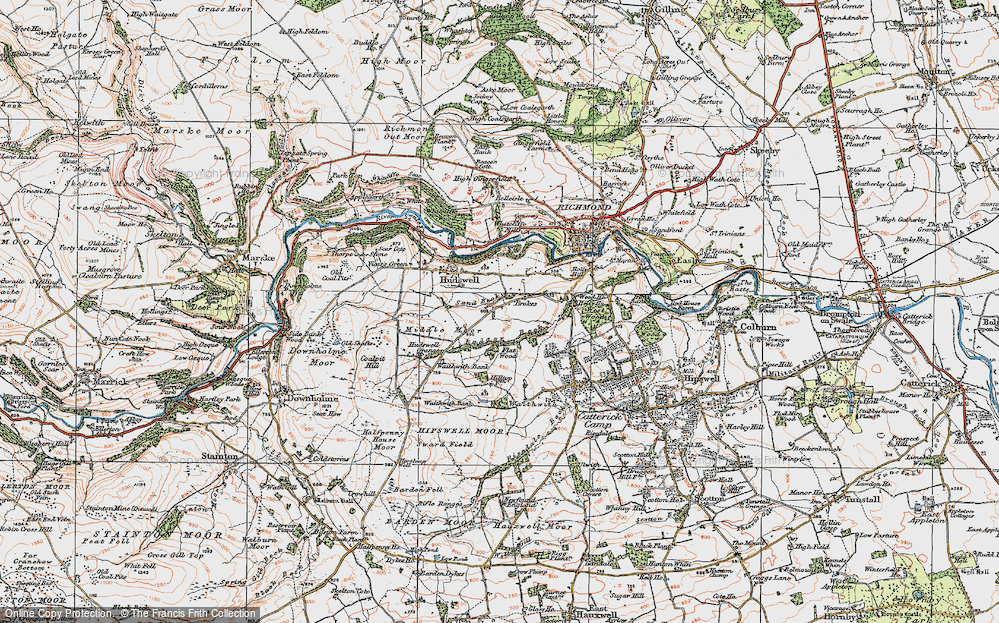 Old Map of Historic Map covering Badger Beck in 1925