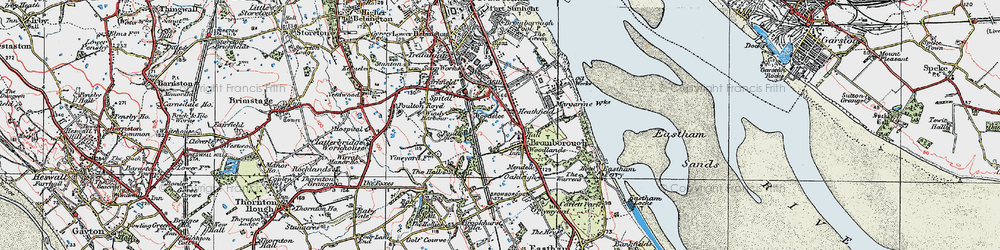 Old map of Bromborough in 1924