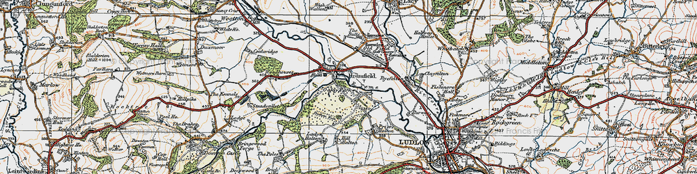 Old map of Woodhouses in 1920