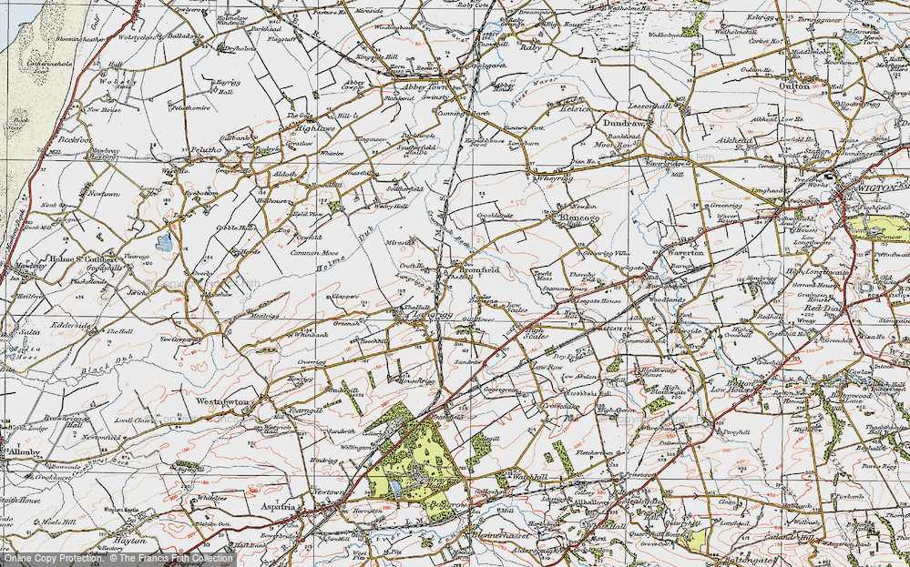 Old Map of Historic Map covering Langrigg Beck in 1925
