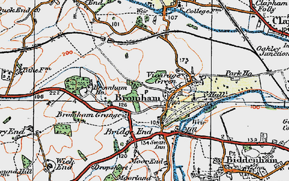 Old map of Bromham in 1919