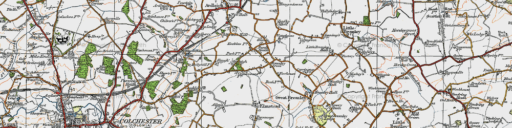 Old map of Ardleigh Park in 1921