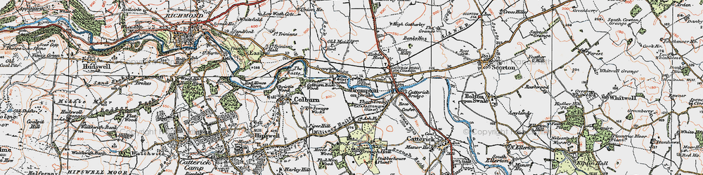 Old map of Brompton-on-Swale in 1925
