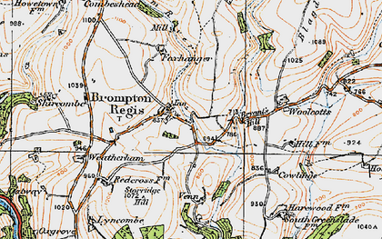 Old map of Wimbleball Lake in 1919