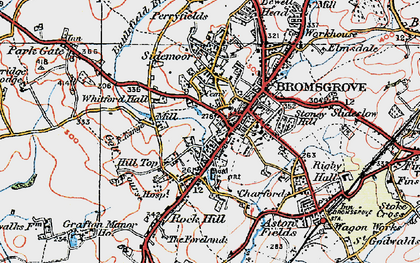 Old map of Bromsgrove in 1919