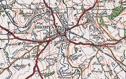 Old map of Bromyard in 1920