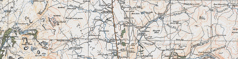 Old map of Afon Gain in 1921