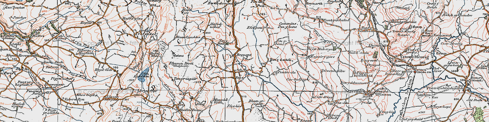 Old map of Bronant in 1922