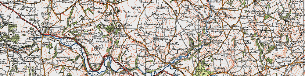 Old map of Abergwrog in 1923