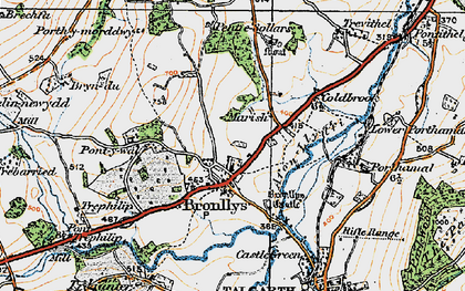 Old map of Bronllys in 1919