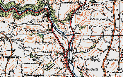 Old map of Bronwydd in 1923