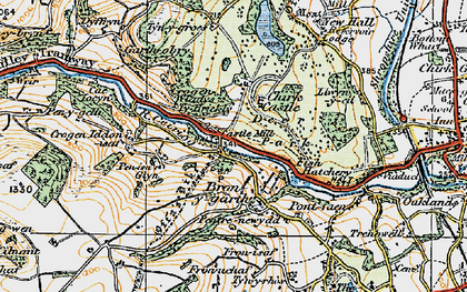 Old map of Bronygarth in 1921