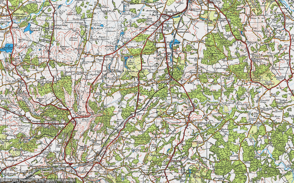 Old Map of Historic Map covering Witley Sta in 1920