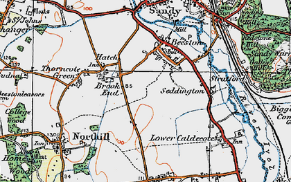 Old map of Brook End in 1919