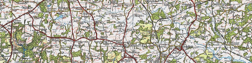Old map of Wetlands Woods in 1920