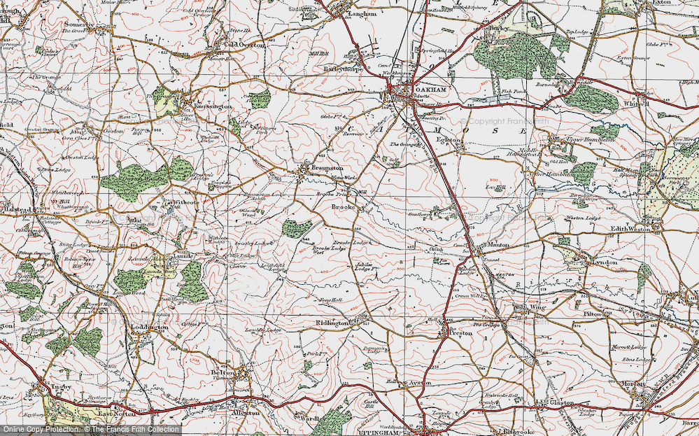 Old Map of Historic Map covering Leigh Lodge in 1921