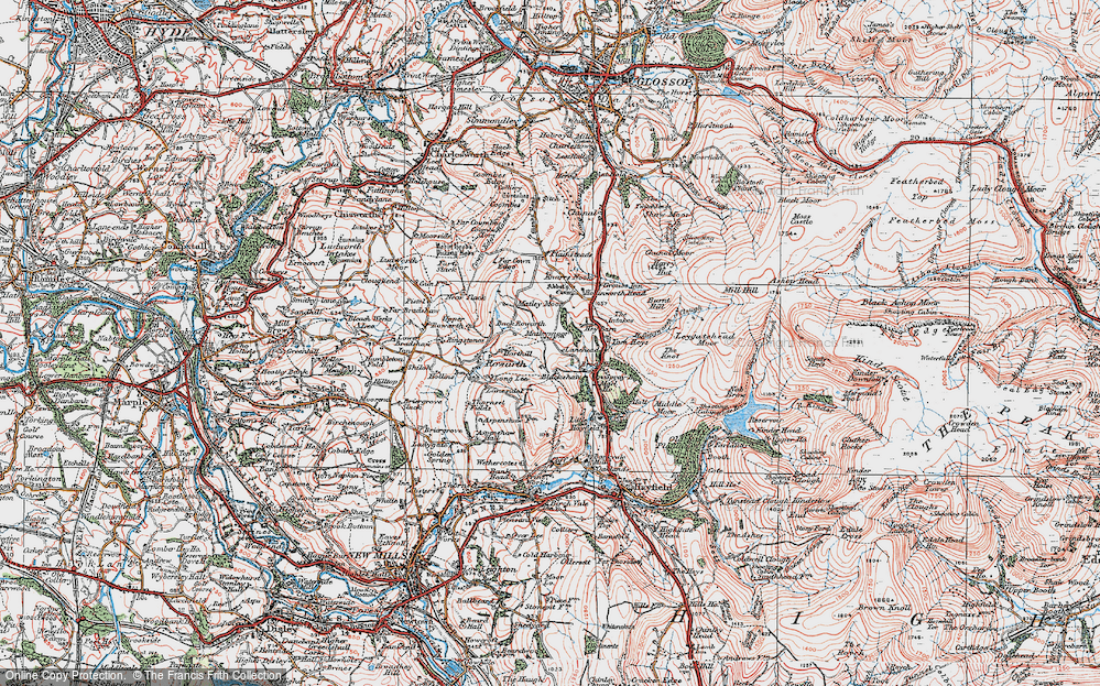 Old Map of Historic Map covering Lantern Pike in 1923