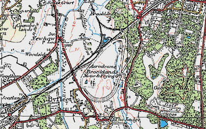 Old map of Brooklands in 1920