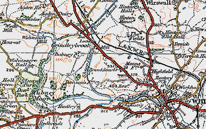 Old map of Agden Ho in 1921