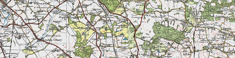 Old map of Brookmans Park in 1920