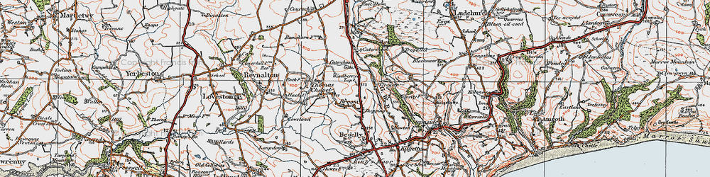 Old map of Windberry Top in 1922