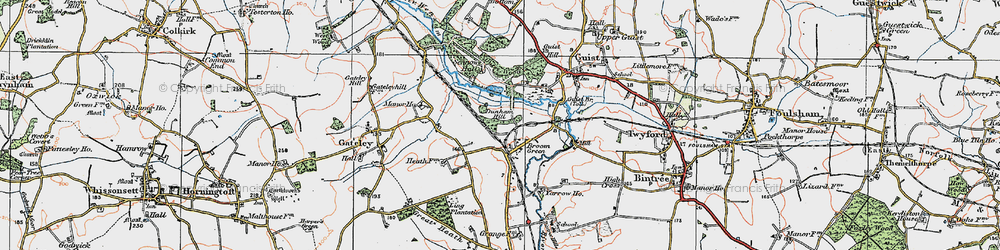 Old map of Yarrow Ho in 1921