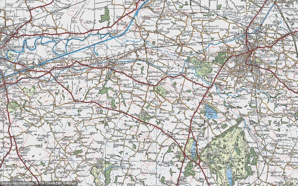 Old Map of Historic Map covering Agden Brow in 1923
