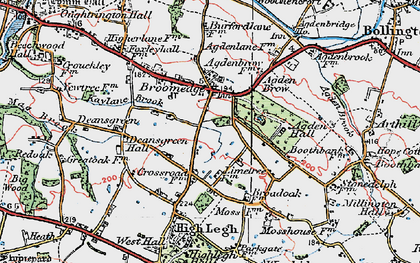 Old map of Broomedge in 1923