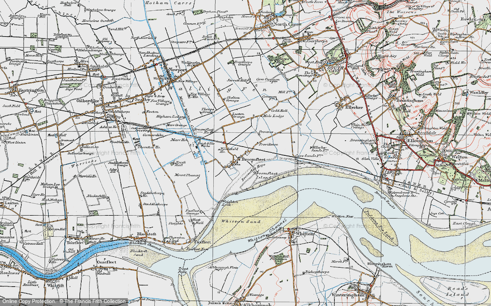 Old Map of Historic Map covering Laxton Grange in 1924