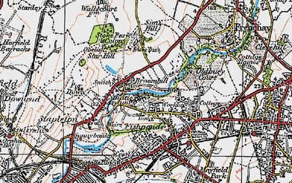 Old map of Broomhill in 1919