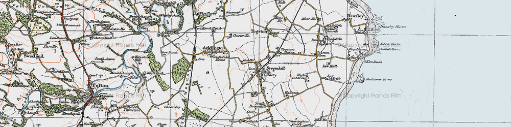 Old map of Togston Barns in 1925