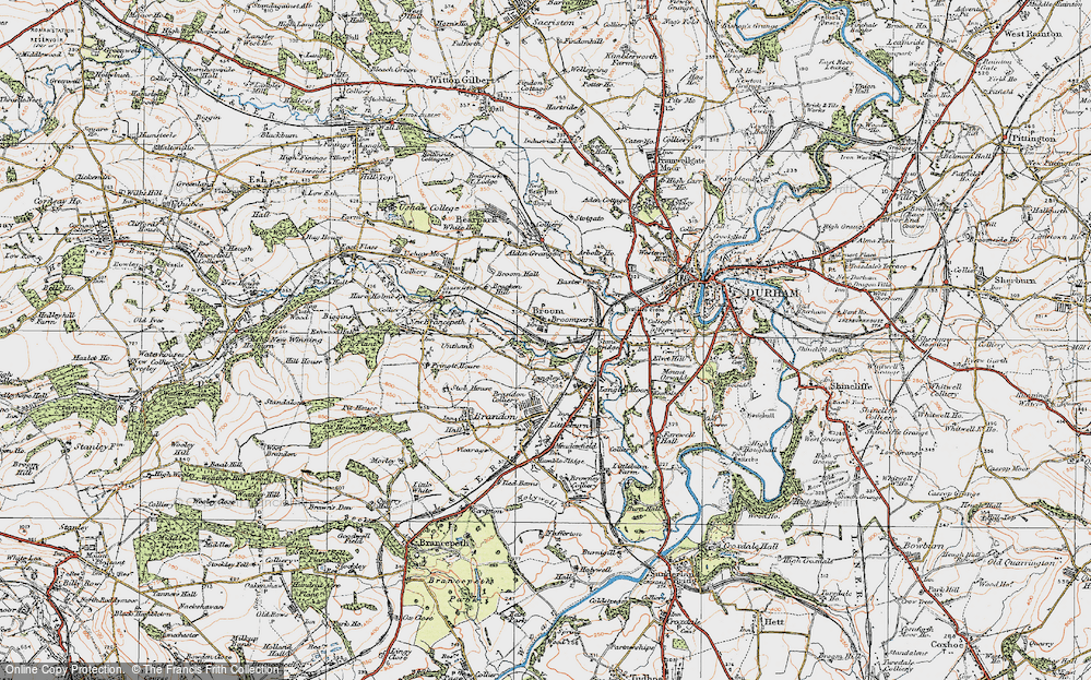 Old Map of Historic Map covering Aldin Grange in 1925