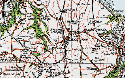Old map of Brotton in 1925