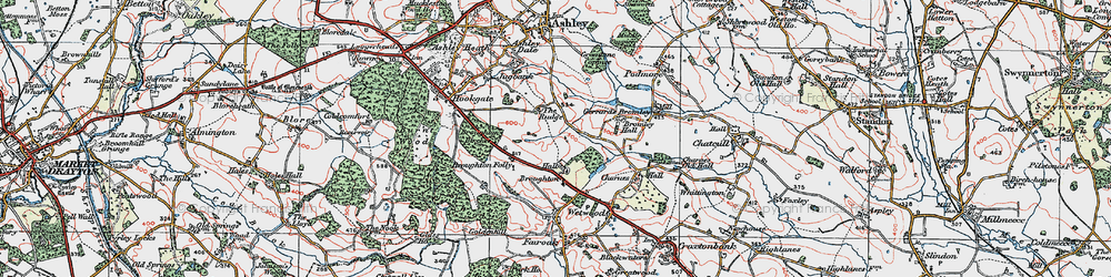 Old map of Broughton in 1921